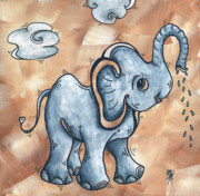 Whimsical Pop Art Childrens Nursery Original Elephant Painting Adorable By Madart Print by Megan Duncanson