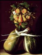 Allegories Metal Prints - Whimsical Portrait Metal Print by Arcimboldo
