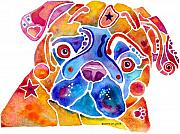 Watercolor  Paintings - Whimsical Pug Dog by Jo Lynch