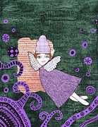 Kpappert Posters - Whimsical Purple Winged Girl Mixed Media Collage Poster by Karen Pappert