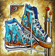 High Top Framed Prints - Whimsical Shoes by MADART Framed Print by Megan Duncanson
