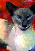 Funny Prints Drawings Prints - Whimsical Siamese Cat painting Print by Svetlana Novikova