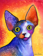 Animal Portrait Greeting Cards Prints - Whimsical Sphynx Cat painting Print by Svetlana Novikova