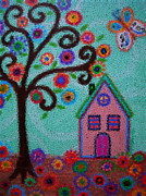 Religious Artist Paintings - Whimsical Town Mosaic by Pristine Cartera Turkus