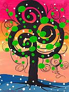Coin Prints - Whimsical Tree 4 Print by  Abril Andrade Griffith