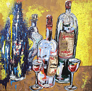 Food And Beverage Mixed Media Originals - Whimsical Wine Bottles by Lisa Kramer