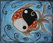 Acrylic Pastels Framed Prints - Whimsy Fish 3 Yin and Yang Framed Print by Rain Ririn