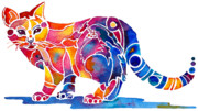 Vibrant Colors Paintings - Whimzical Calico Kitty by Jo Lynch