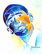 Watercolor Metal Prints - Whimzical Obama Metal Print by Jo Lynch