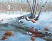Snow Scene Painting Originals - Whippany Brook In Winter by Laurie Paci