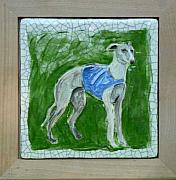 Portraits Ceramics Originals - Whippet in relief by Phillip Dimor
