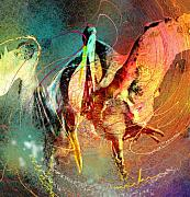 Stork Digital Art Posters - Whirled in Digital Rainbow Poster by Miki De Goodaboom