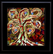 Tree Glass Art Prints - Whirley Tree Print by Sheri Thrift Roberson