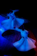 Dark Gray Blue Framed Prints - Whirling Dervish - 3 Framed Print by Okan YILMAZ