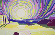 Psychedelic Paintings - Whirling Sunrise - La Rocque by Derek Crow