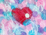 Purple Heart Painting Posters - Whirlwind Of Love Poster by Sheila Yackley