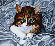 Silk Painting Originals - Whiskers the Cat by Annette Jimerson