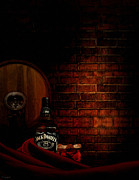 Red Wine Bottle Posters - Whiskey Fancy Poster by Lourry Legarde