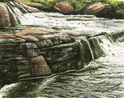Canada Art Pastels Prints - Whiskey Rapids Three Print by Alan Rutherford