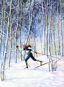 Skiing Prints Painting Originals - Whispering Tracks by Hanne Lore Koehler