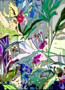 Lavender Drawings - Whispering Wind Flowers by Mindy Newman