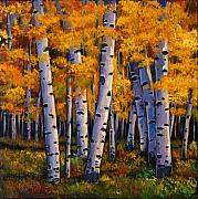 Aspen Trees Paintings - Whispers by Johnathan Harris