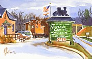 Trains Painting Prints - Whistle Junction in Ironton Missouri Print by Kip DeVore