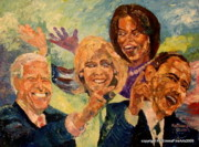 Michelle Obama Painting Prints - Whistle Stop Tour USA 2008 Print by Keith OBrien Simms