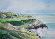 Deb Ronglien Watercolor Posters - Whistling Straits 7th Hole Poster by Deborah Ronglien