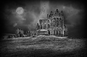 Whitby Prints - WHitby Abbey Full Moon Print by Ian Barber