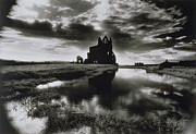Monotone Prints - Whitby Abbey Print by Simon Marsden