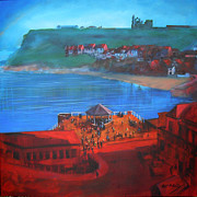 Bandstand Paintings - Whitby Bandstand and Smokehouses by Neil McBride