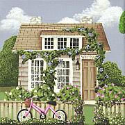 Picket Fence Posters - Whitby Cottage Poster by Catherine Holman