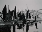 Barges Drawings Posters - Whitby Harbour Poster by Andy Davis