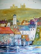 Castle Mixed Media Originals - Whitby Harbour  by Trudy Kepke