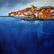 Buildings Paintings - Whitby High Tide by Neil McBride