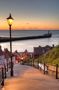 Whitby Posters - Whitby Steps - Orange Glow Poster by Martin Williams