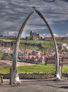 Ble Sky Posters - Whitby Whale Bone Arch Poster by Allan Briggs