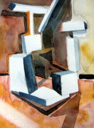 Cubism Drawings Posters - White Abstract Poster by Mindy Newman