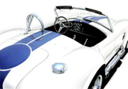 Jaguar Art Posters - White AC Cobra Poster by David Kyte
