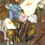 Calla Lilly Mixed Media Framed Prints - White and Blue  Framed Print by Danna Whitney