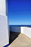 White Walls Metal Prints - White and Blue to Ocean View Metal Print by Kaye Menner