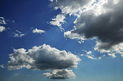 Spirituality Metal Prints - White and gray clouds in blue sky Metal Print by Sami Sarkis