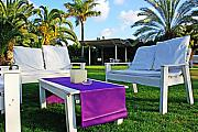 Lawn Chair Prints - White and Purple Print by Zalman Lazkowicz