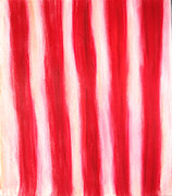 Stripes Pastels Metal Prints - White and Red Pastel Stripes Metal Print by Kazuya Akimoto