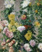 White Painting Metal Prints - White and Yellow Chrysanthemums Metal Print by Gustave Caillebotte