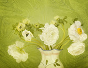 Indoor Still Life Digital Art Framed Prints - White Anemonies and Ranunculus on Green Framed Print by Susan Gary