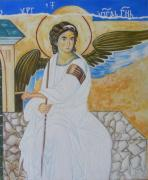 Byzantine Painting Posters - White Angel  Poster by Jovica Kostic