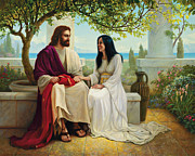 Smiling Jesus Painting Posters - White as Snow Poster by Greg Olsen