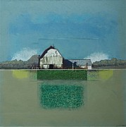 Agriculture Mixed Media Posters - White Barn Gothan WI Poster by Eric Engstrom